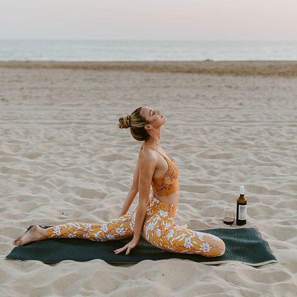 Yoga on the beach, Beach, Mind and Body Wines, wine at the beach,Mind and Body Wines, Mind & Body Wines, Cabernet Sauvignon, Mind & Body Cabernert, Low Calorie Wine, Gluten Free wine, low alcohol wine